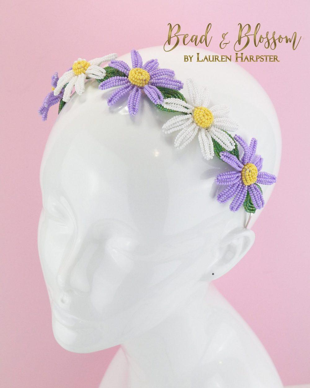 French Beaded Daisy Headband by Lauren Harpster (5)