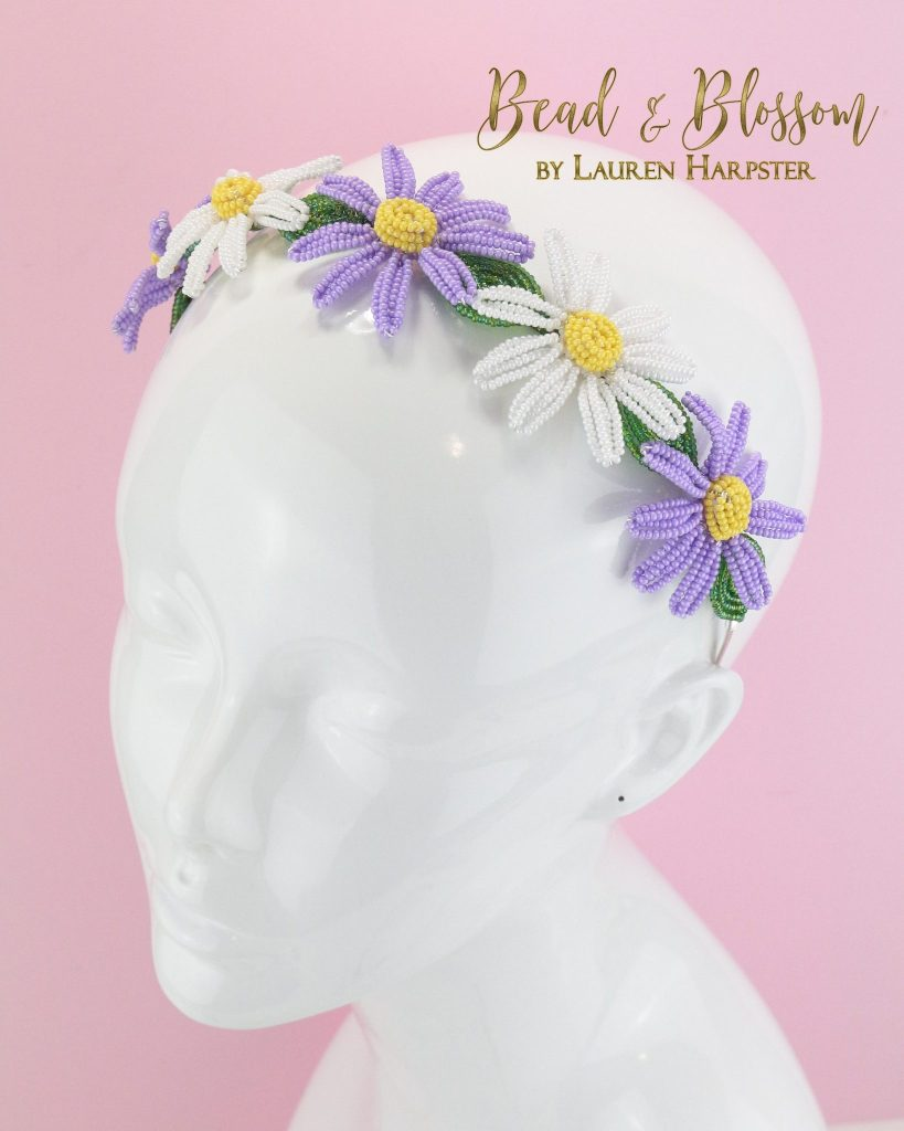 French Beaded Daisy Headband by Lauren Harpster (5)
