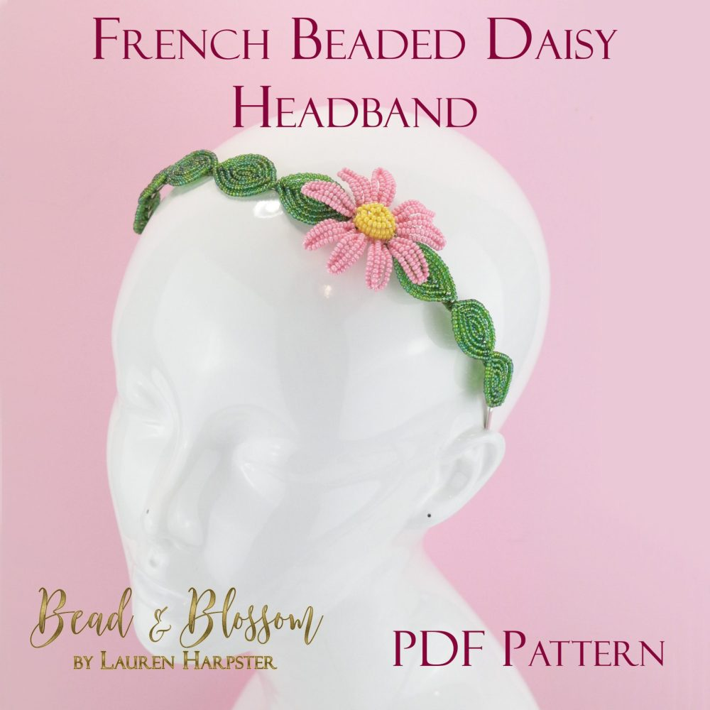 French Beaded Daisy Headband by Lauren Harpster