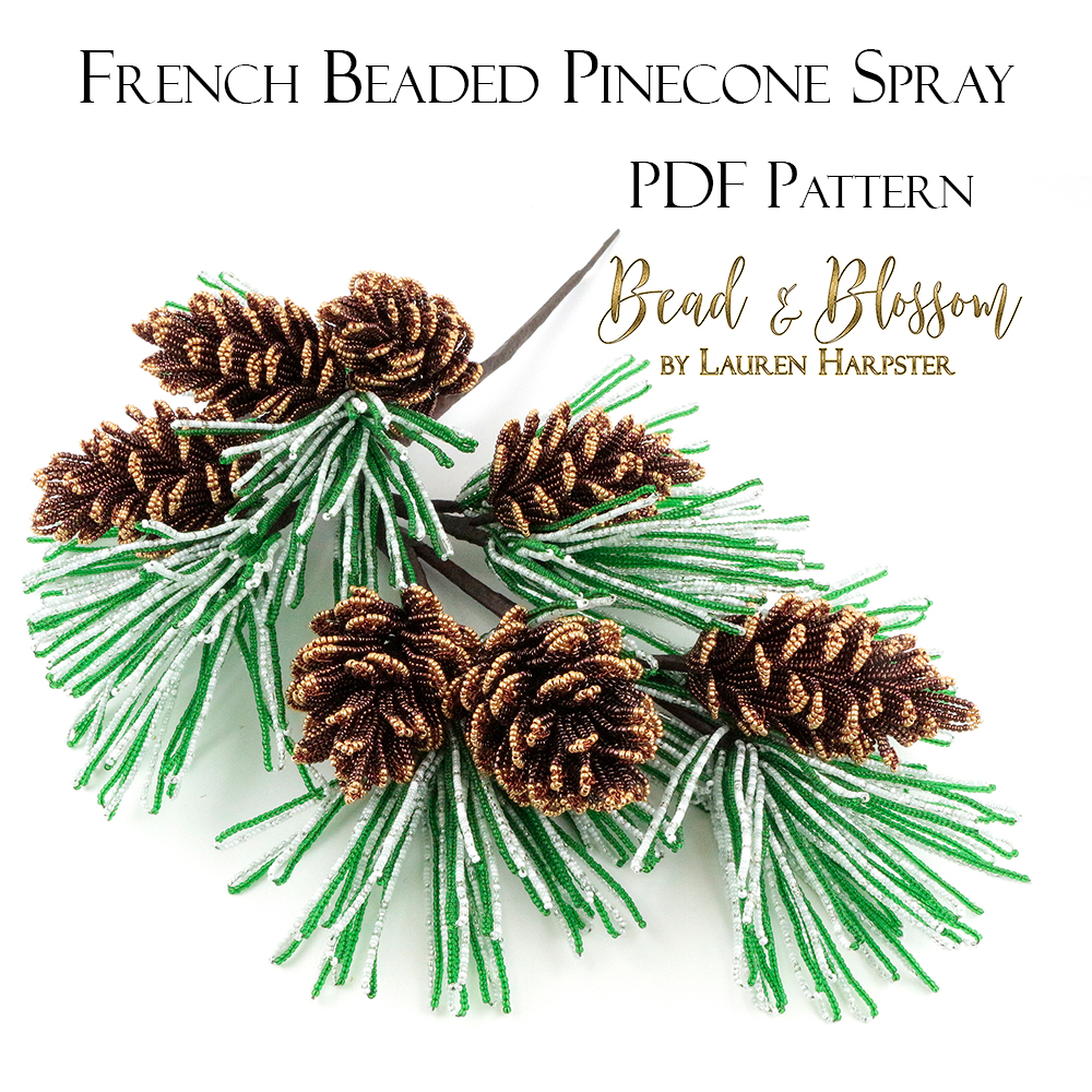 French Beaded Pinecone Spray by Lauren Harpster