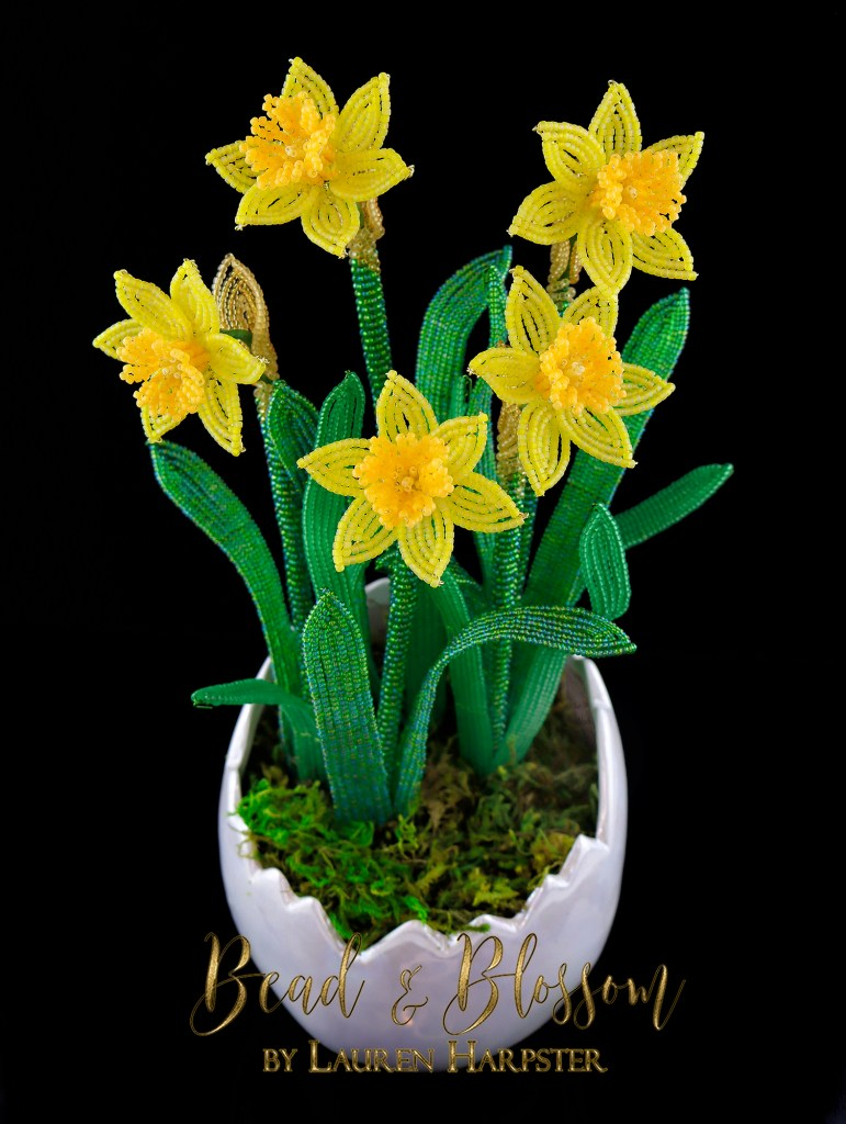 French Beaded Miniature Daffodils by Lauren Harpster
