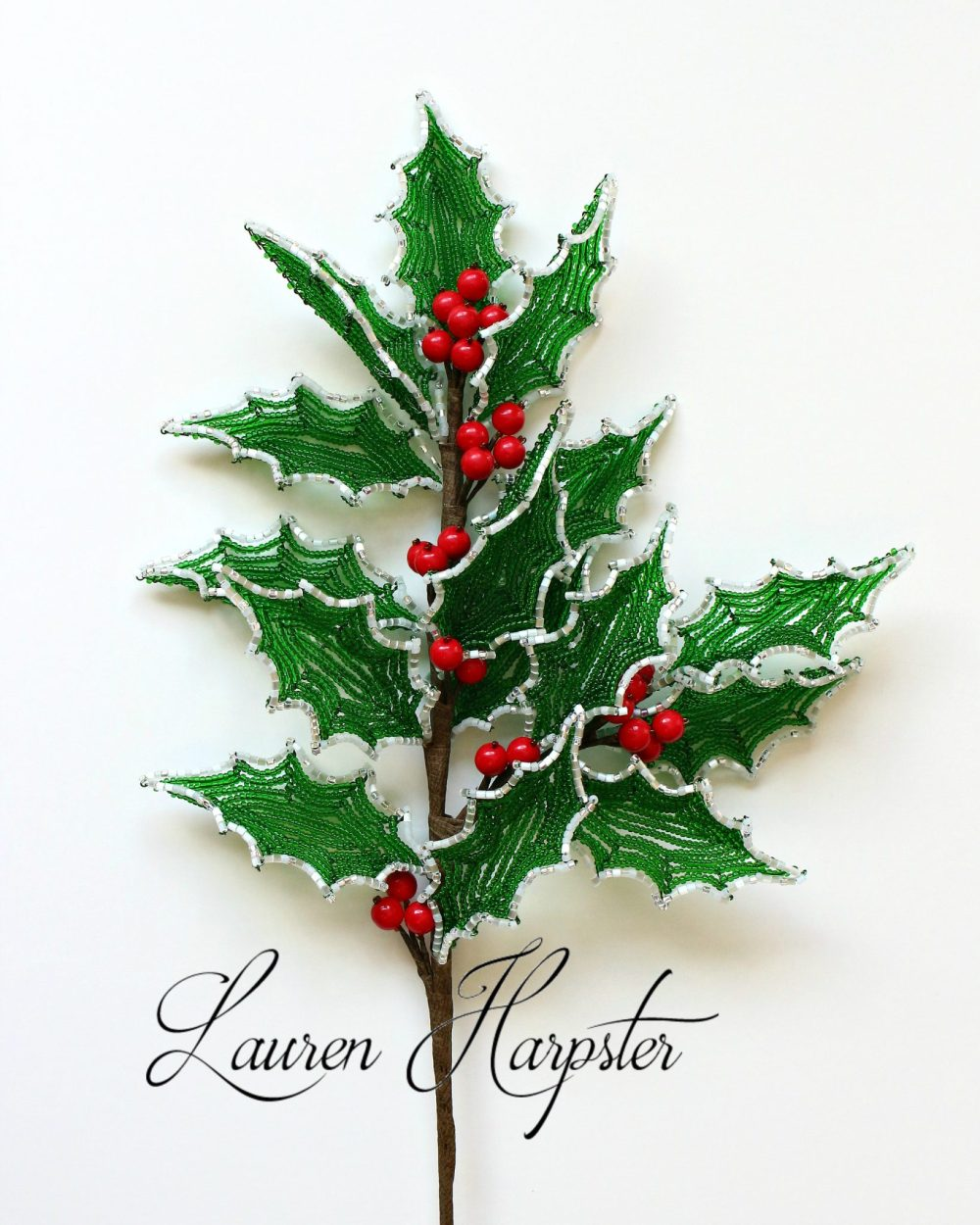 French Beaded Holly by Lauren Harpster