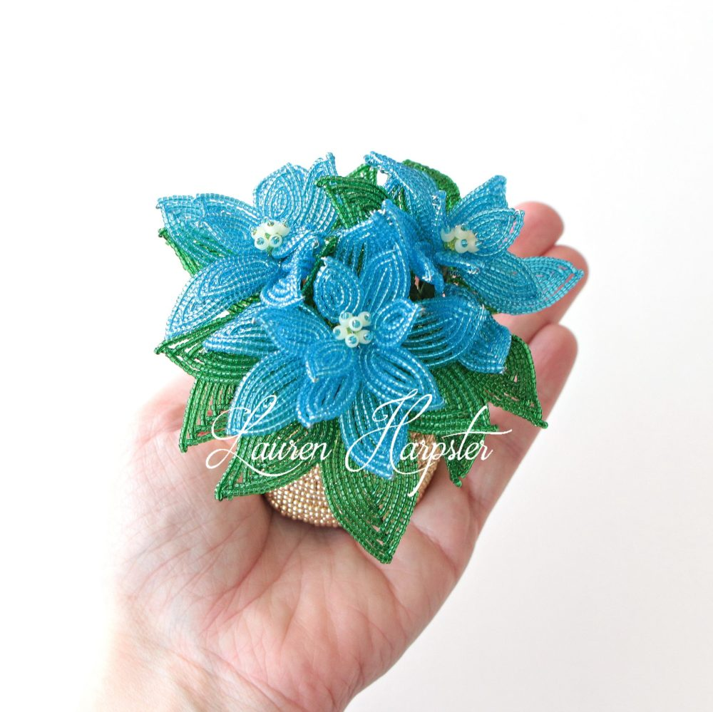 French Beaded Miniature Poinsettia by Lauren Harpster