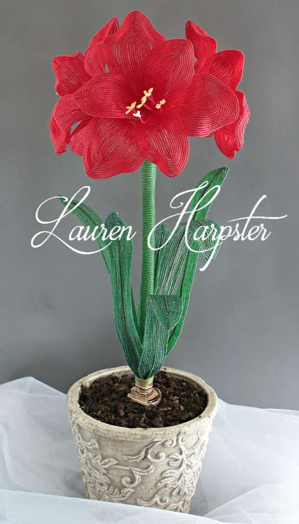 French Beaded Amaryllis by Lauren Harpster