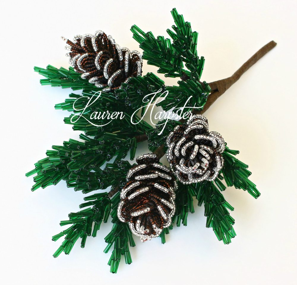 French Beaded Pinecone branch by Lauren Harpster