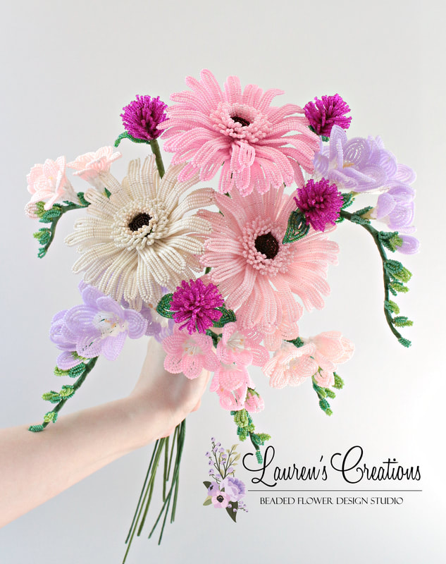 French beaded gerbera daisies and freesia by Lauren harpster