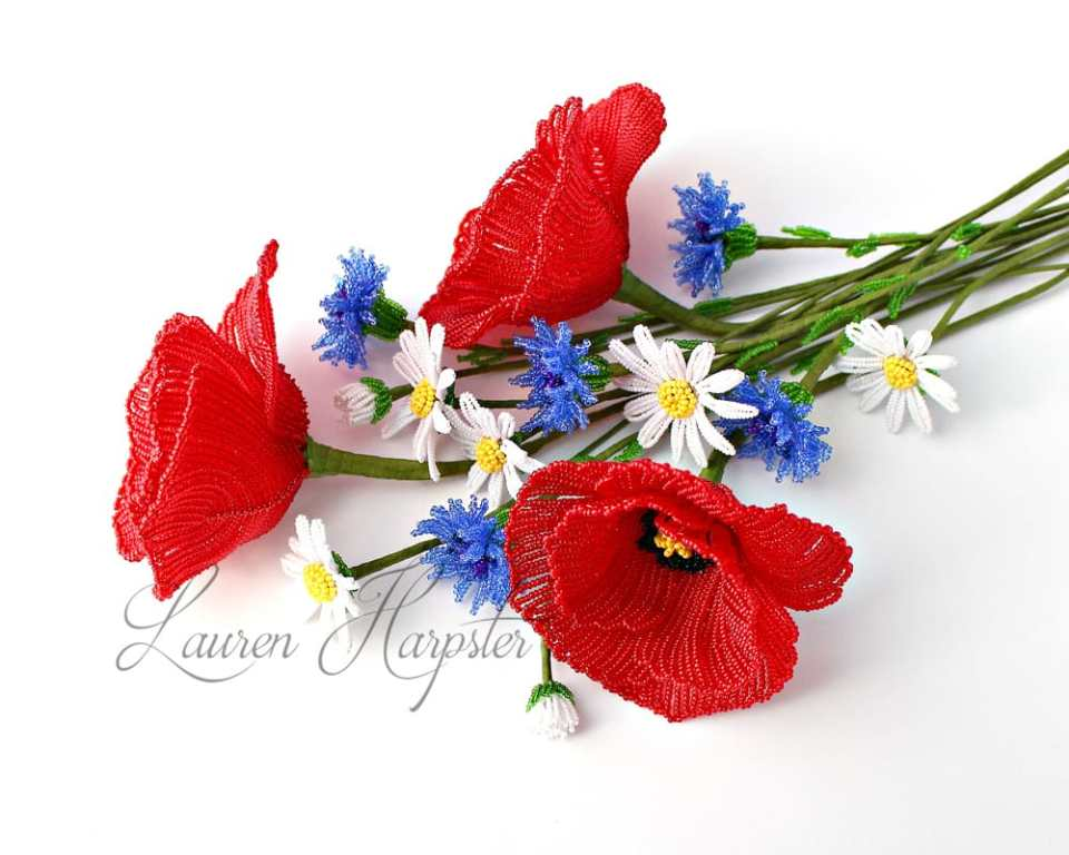 French Beaded Poppies and wildflowers by Lauren Harpster