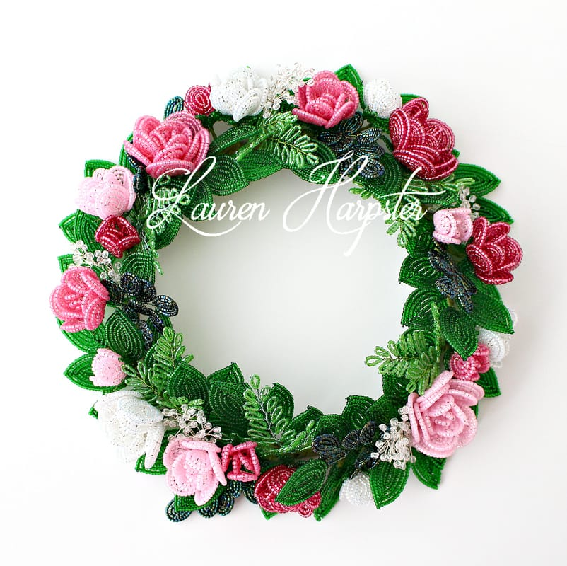 French Beaded Miniature rose candle ring by Lauren Harpster