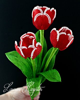 French Beaded Tulips by Lauren Harpster