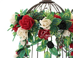 French Beaded Miniature Rose wreath with vines by Lauren Harpster