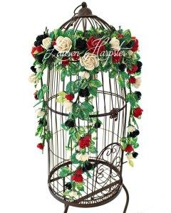 French Beaded Miniature Rose birdcage vine by Lauren Harpster