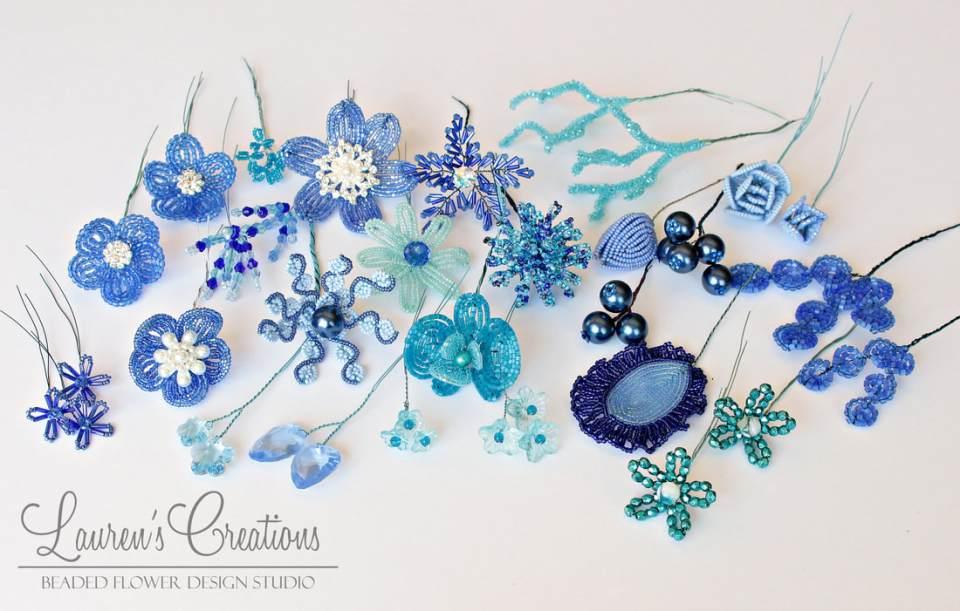 blue french beaded flowers by Lauren Harpster