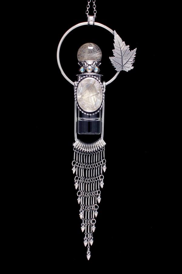 Silver Rutilated Quartz Rollerball Necklace
