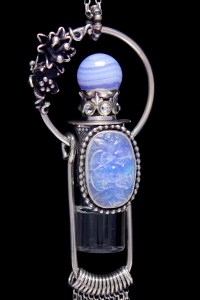 Lace Agate And Carved Moonstone Rollerball Necklace