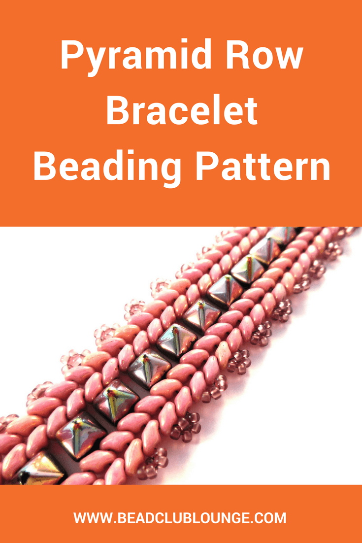 The Pyramid Row bracelet, featured in DIY Jewelry Making Magazine #43, is created by nestling 6mm Pyramid beads between two rows of Superduos.