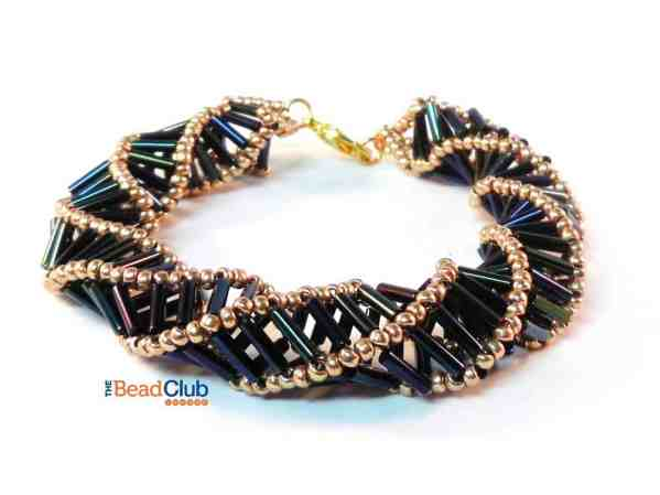 Learn Russian Spiral Stitch with this beading pattern called Helix Bracelet. You will need Bugle beads to create the spiral.