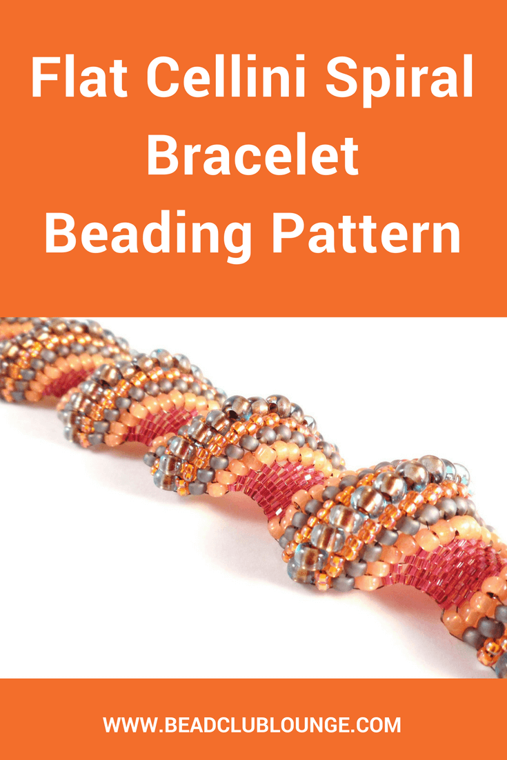 Click to learn how to make this Flat Cellini Spiral bracelet using a variety of seed beads to create a fabulous undulating texture.