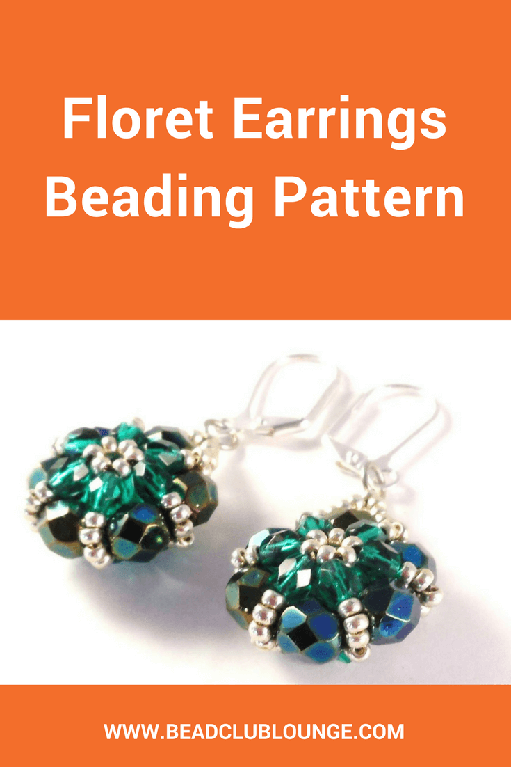 The Floret Earrings beading pattern uses fire-polished beads that add sparkle to the earrings so they glisten as you wear them.