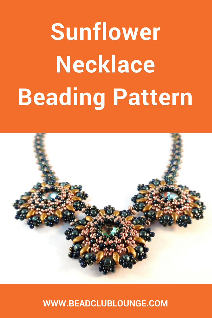 The Sunflower Necklace beading pattern instructs you how to create a gorgeous statement necklace using Right Angle Weave.