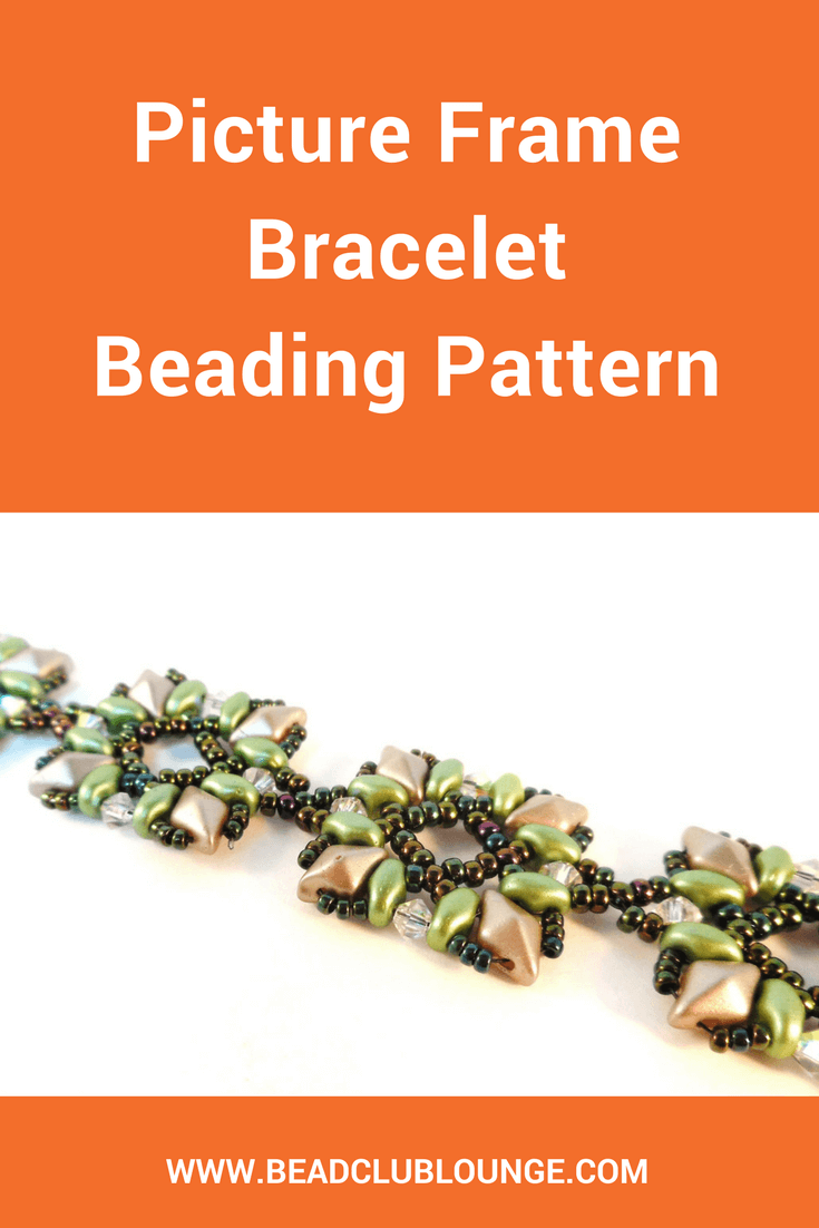 The Picture Frame Bracelet beading pattern uses a combination of DiamonDuo beads, SuperDuo beads, bicones and seed beads.