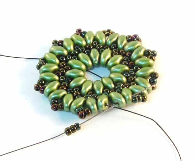 Step 13 of Starburst Earrings Tutorial- Simple Free Beaded Earring Pattern