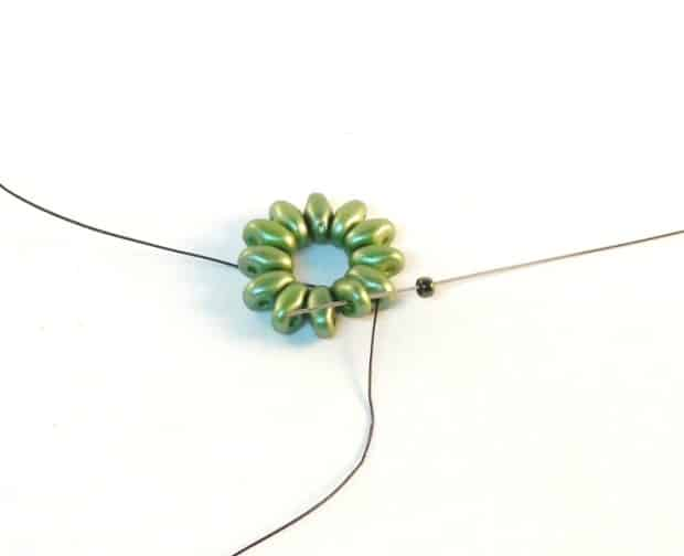 Step 4 of Starburst Earrings Tutorial- Simple Free Beaded Earring Pattern
