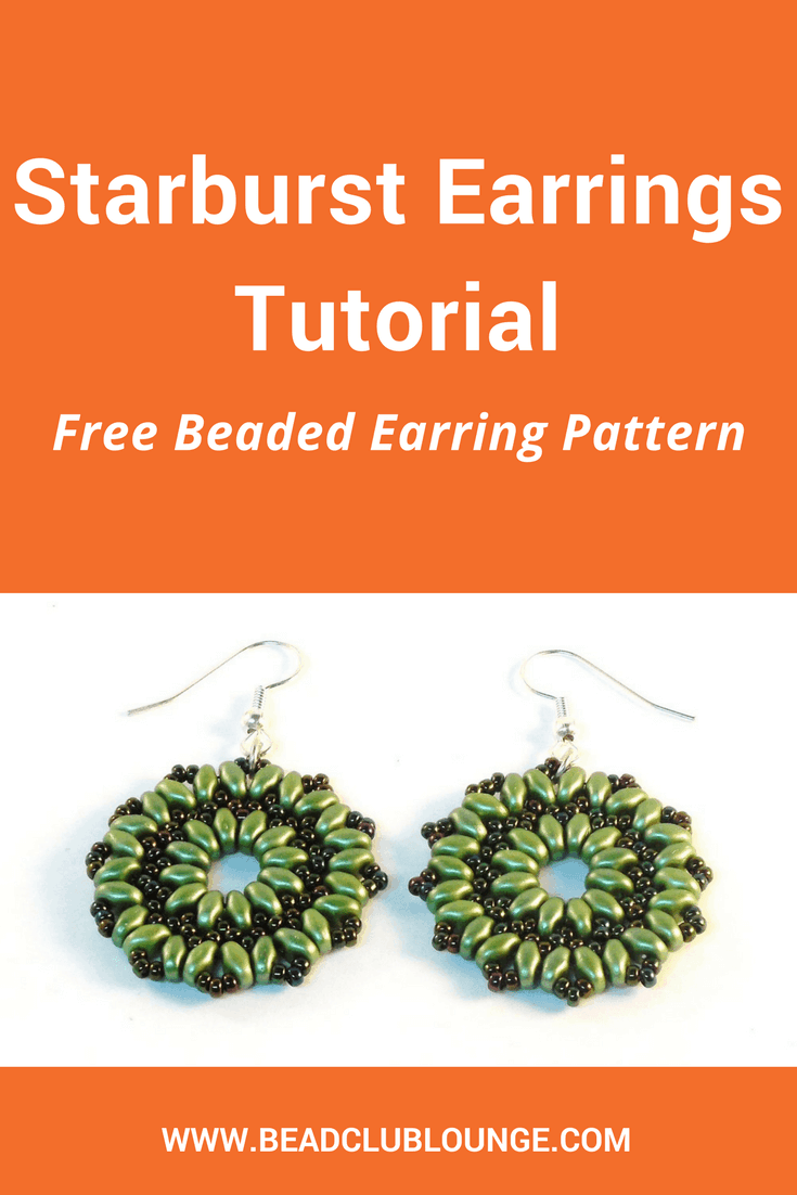 DIY these simple but elegant beaded earrings using SuperDuo beads and seed beads. Click here for an easy, free beading pattern perfect for beginners that includes step-by-step instructions in English accompanied by close-up pictures. You'll also see a YouTube video tutorial that will show you how to make this design called the Starburst Earrings. #beading #beadwork #jewelrymaking #earrings #freepattern #tutorials