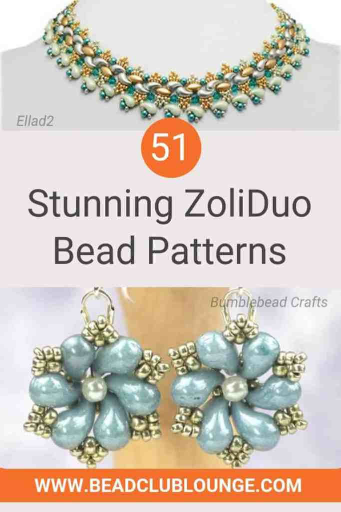 Here's is a list of stunning ZoliDuo bead patterns on Etsy. You'll find beading tutorials fit for beginners and more advanced beaders. If you love bead stitching, you don't want to miss out on these must-have jewelry patterns. (Designs shown in image are Kani Necklace by Ellad2 and Dew Drop Earrings by Bumblebead Crafts.) #beading #beadwork #jewelrymaking #jewelrytutorial