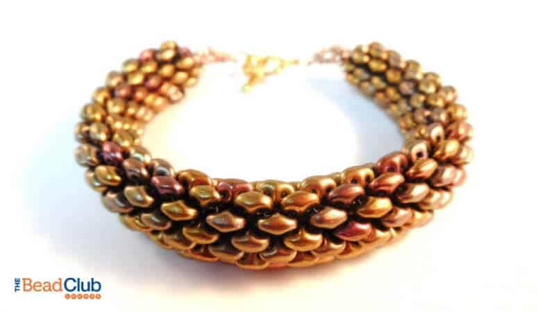 How To Make The Snakeskin Bracelet – Free Tubular Peyote Stitch Pattern