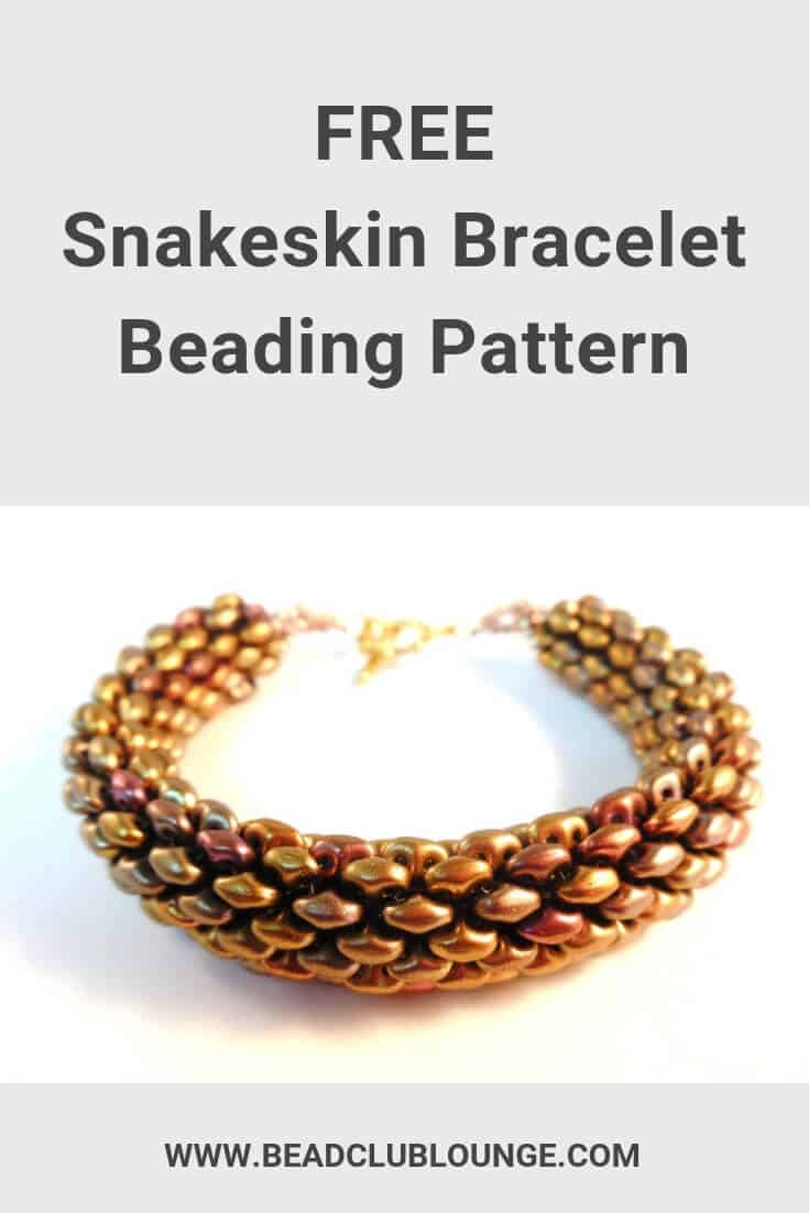 Learn how to make this free tubular peyote stitch pattern using SuperDuo beads. You could also make a lovely beaded necklace using this pattern. The simple, step-by-step tutorial contains instructions written in English and pictures to make this beading project easy for beginners and other skill levels. Click here for the Snakeskin Bracelet pattern and start jewelry making today. #beading #beadwork #jewelrymaking #jewelrytutorial #tutorials #patterns #TheBeadClubLounge