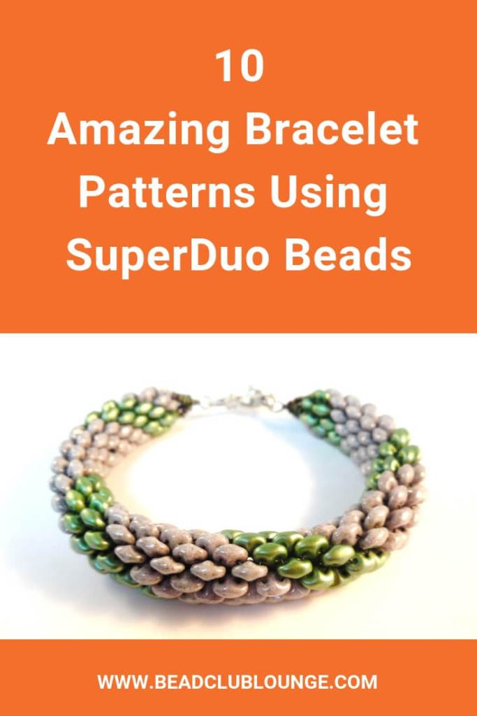 Learn how to make ten fun bracelet patterns using Superduo beads. These YouTube video tutorials are great for beginner to intermediate skill levels and range from flat to tubular bead weaving stitches. #superduobeads #beading #beadedbracelets