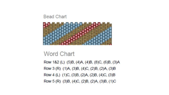 Peyote Stitch instructions usually consist of a graph and word chart.