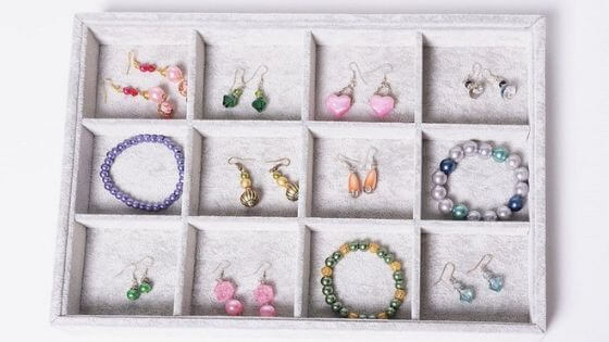 Tray organizers are great for displaying jewelry at craft shows.