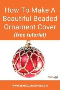 DIY your own beaded ornament covers with this free beading pattern. The simple design of this Netting Stitch Christmas crafts tutorial is beautiful and will add a unique handmade elegance to your tree. All you'll need are some seed beads and fire polished beads. Check out this easy, step-by-step beaded Christmas ornament cover pattern with pictures. It's great for beginners and all other skill levels. #christmascrafts #christmasdecorations #freepattern #beading #tbcl