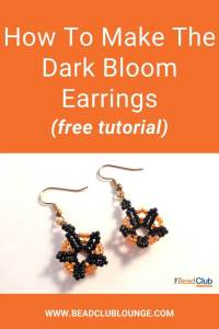 Check out this free step-by-step jewelry making tutorial that shows you how to make the Dark Bloom Earrings. The beading pattern includes a full materials list as well as photos accompanying the instructions. #beadedearrings #beading #tbcl