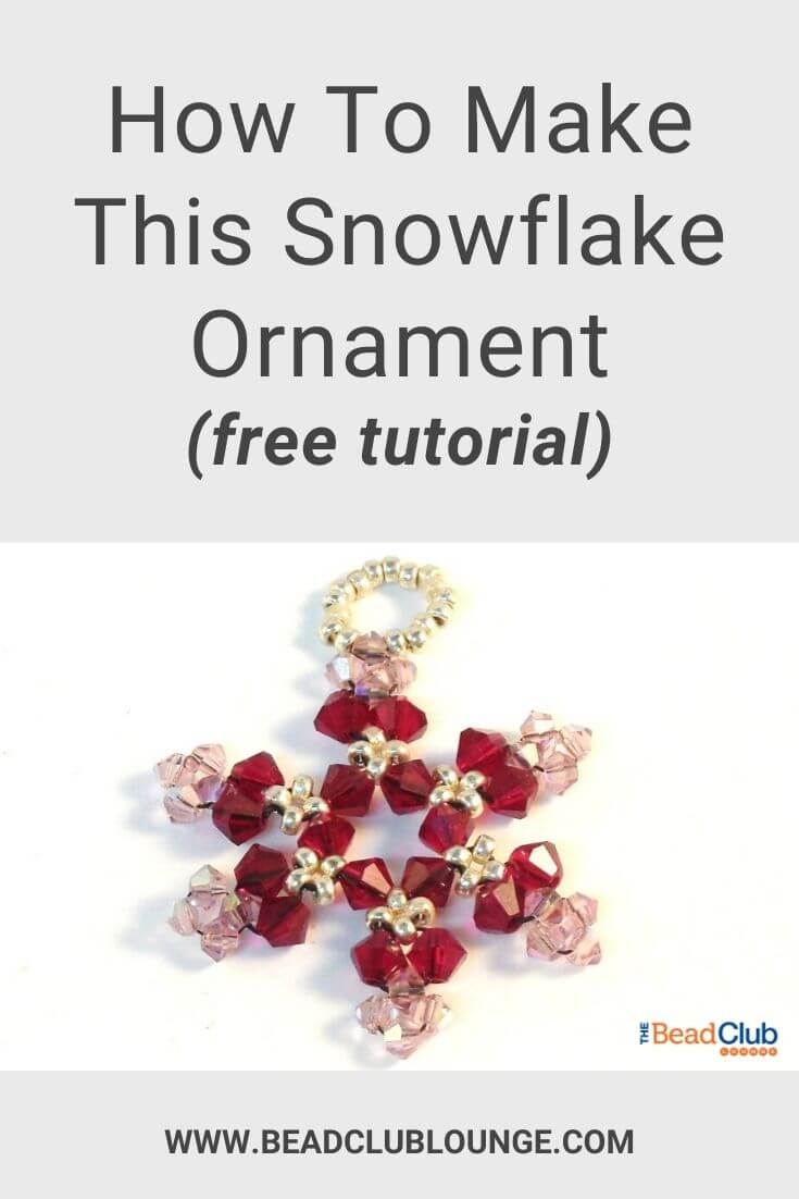 Here's an easy snowflake ornament pattern that's perfect for Christmas. Learn how to DIY beaded snowflakes with this step-by-step craft tutorial. Personalize yours and make them in any colour using glass beads or Swarovski crystal beads. #beadedsnowflake #christmasdecor #beading #tbcl
