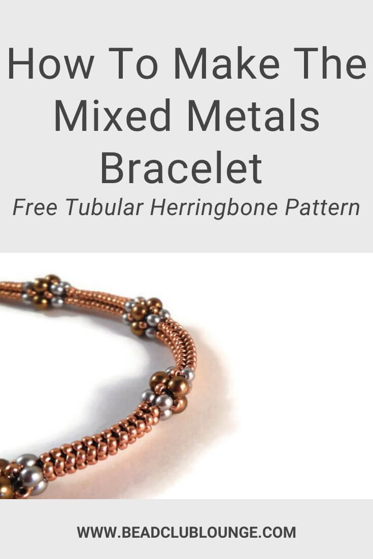 Create this free Mixed Metals Bracelet beading pattern using Tubular Herringbone Stitch.