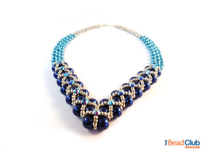 How to make a beaded necklace using right angle weave.
