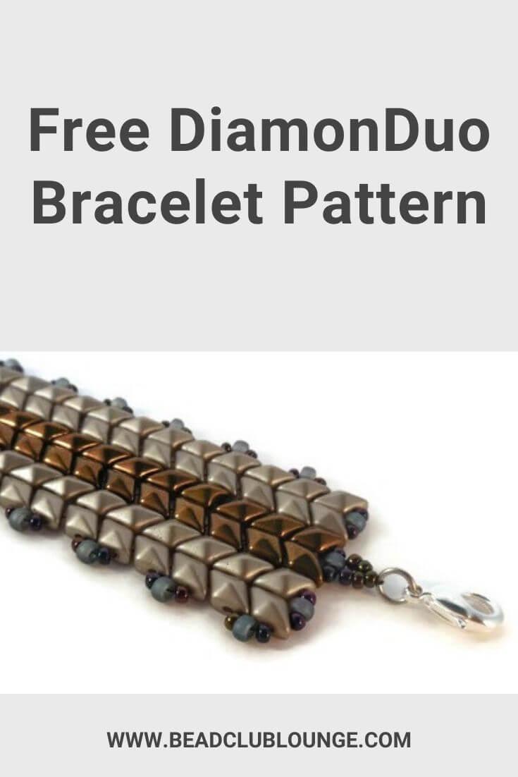 Make the stunning DiamonDuo Bracelet using this free beading pattern. This beaded bracelet is made with flat Herringbone Stitch. #beading #diamonduobeads #tbcl