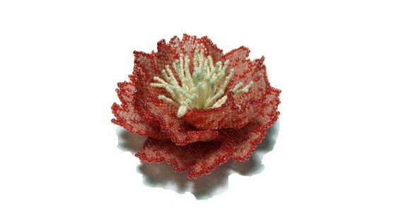 Artisan beaded flower by Gemsplusleather