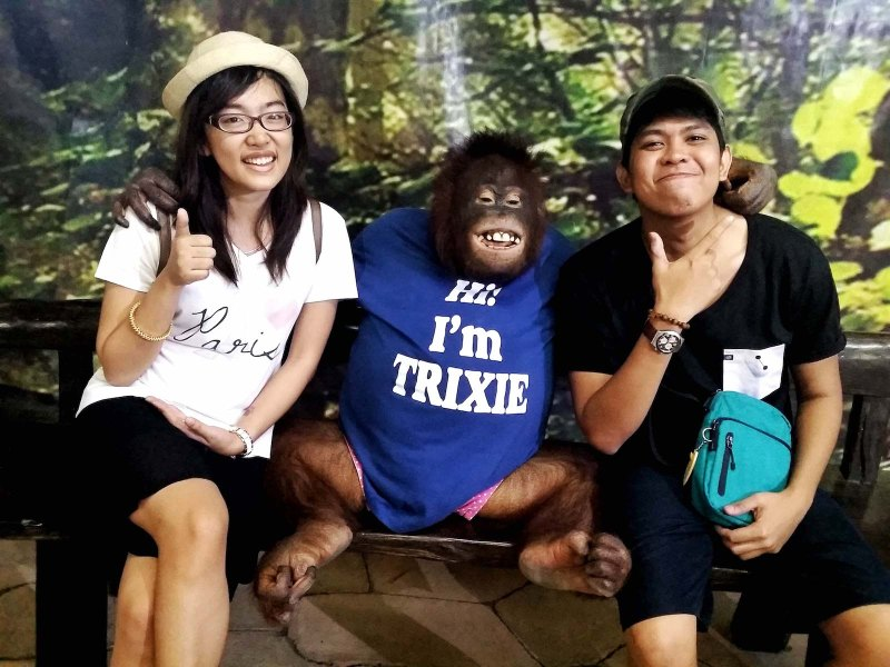 a couple posing with trixie the orangutan in the middle