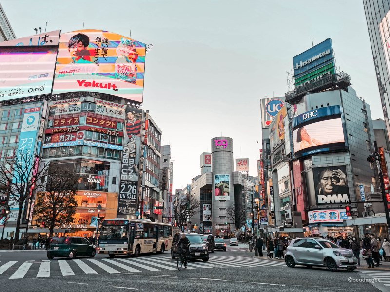 the building of shibuya as you crossed the street