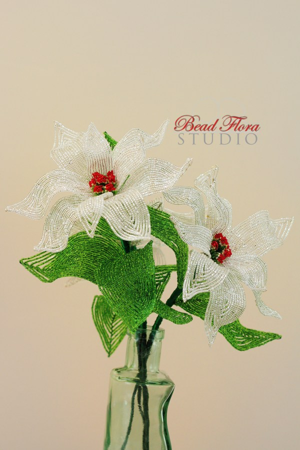French beaded silver poinsettia kit