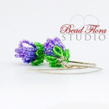 French beaded lilac bud earrings