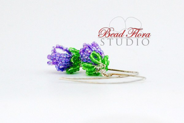 French beaded lilac bud earrings PATTERN/TUTORIAL