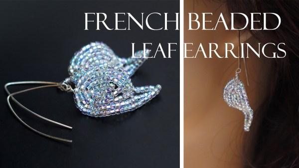 French beaded silver leaf earrings PDF