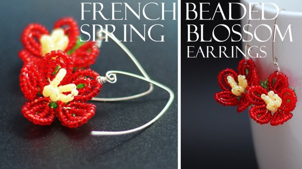 French beaded Spring Blossom flower earring pdf automatic download