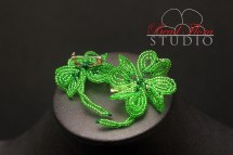 French beaded lucky 4 leaf clover brooch pin