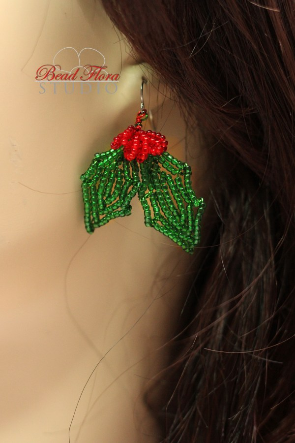 French beaded holly jolly earrings