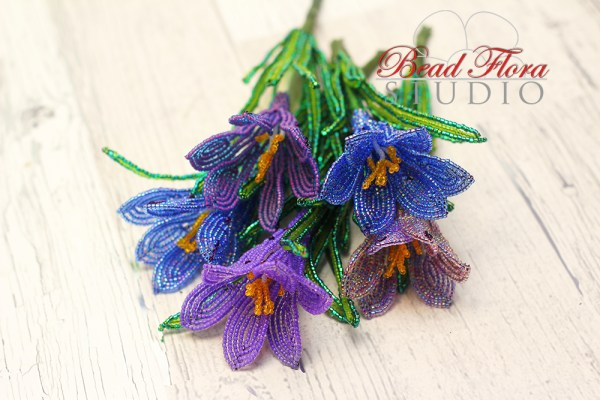 French beaded crocus pattern